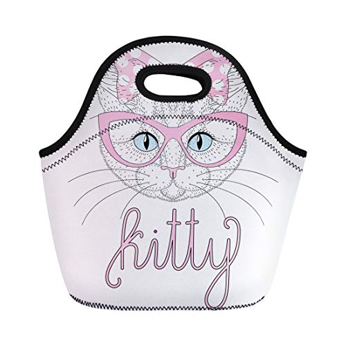 Semtomn Lunch Tote Bag Cute Anthropomorphic Kitty Portrait Pin Up Bow on Head Reusable Neoprene Insulated Thermal Outdoor Picnic Lunchbox for Men Women