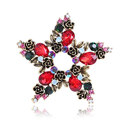 DTZH Clear Glass Crystal Flower Brooch Crystal Button Brooches Scarves Buckle Floriated Brooch Pin Rhinestone Corsage Bouquet Flower Brooch Crystal Rhinestone Brooch Wedding-A