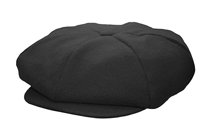 3cc6faa648f Emstate Mens Melton Wool 8 Panel Applejack Newsboy Cap Made in USA Various  Colors (Black