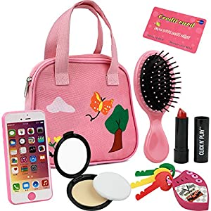 Click N' Play 8Piece Girls Pretend Play Purse, Including A Smartphone, Car Keys, Credit Card, Lipstick, Lights Up & Make…