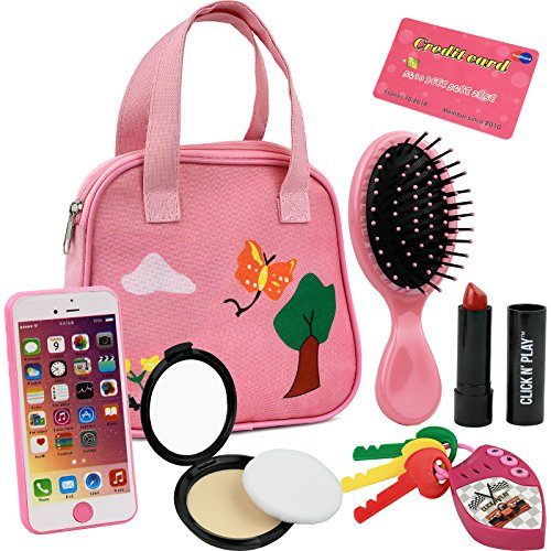 Click N' Play 8Piece Girls Pretend Play Purse, Including A Smartphone, Car Keys, Credit Card, Lipstick, Lights Up & Make Real Life -