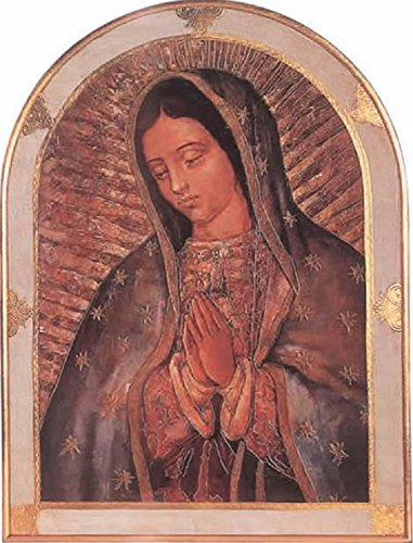 Our Lady of Guadalupe Florentine plaque with a gold and white trimmed border, 23 x 31 inches. Made in Italy by GSV001