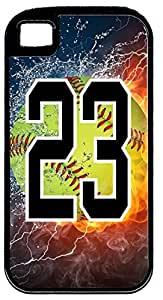 Flaming Softball Sports Fan Player Number 23 Black Rubber Hybrid Tough Case Decorative iPhone 5c Case