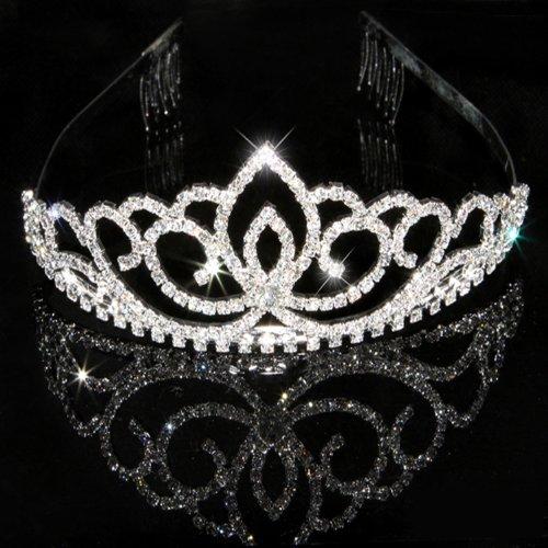 Katara Silbernes Strass Diadem Haarspange für Hochzeit, Brautjungfern, Kommunion, Konfirmation