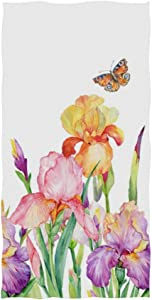 "Naanle Iris Flower Field with Butterfly Green Leaf Spring Nature Floral Print On White Soft Bath Towel Absorbent Hand Towels Multipurpose for Bathroom Hotel Gym and Spa 30""x15"""