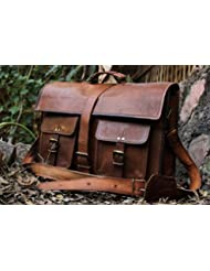 HLC 16 Inches Classic Adult Unisex Cross Shoulder Leather Messenger Laptop Briefcase Bag Satchel Brown