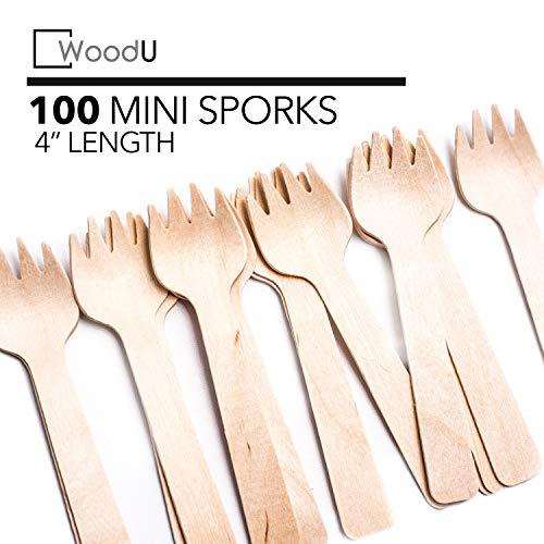 WoodU Wooden Disposable Mini Sporks 4