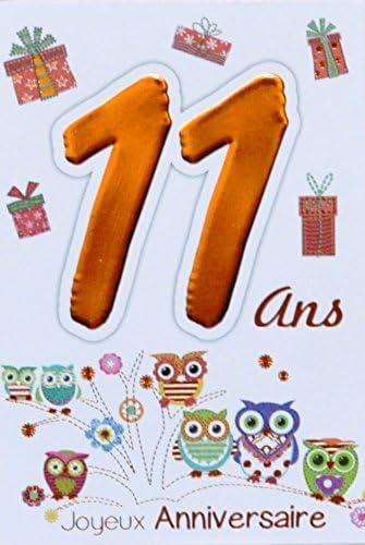 Age Mv 69 2011 Carte Joyeux Anniversaire 11 Ans Ados Garcon Fille Motif Chouettes Hiboux Oiseaux Cadeaux Amazon Fr Fournitures De Bureau