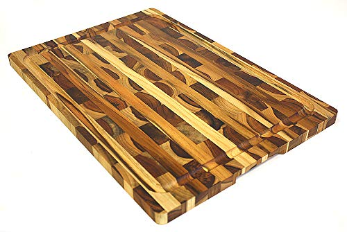 (Mountain Woods Teak Cutting Board - Rectangle End Grain Butcher Block With Juice Groove And Carved handle (19 X 13 in.))