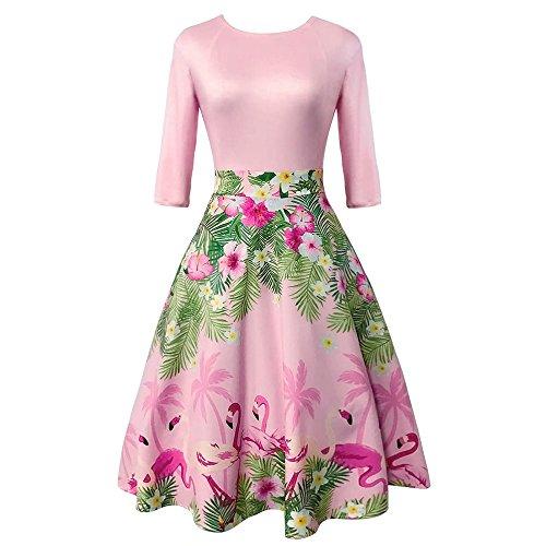 ZAFUL Women 50s Vintage Half Sleeve Party Dress Retro Flamingo Print Cocktail Prom Swing - Color Pink Flamingos