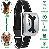 PetAmenity No Barking Control Anti Bark Collar [Best VALUE/2018 Model], Rechargeable/Rainproof / Reflective / 7 Sensitivity/Beep / Vibrate/Safe Shock for Large to Small Dogs (Silver, Bone)