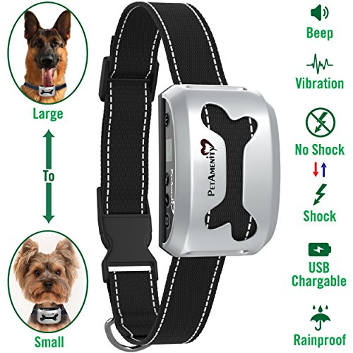 PetAmenity No Barking Control Anti Bark Collar [2019 Ultra], Rechargeable/Rainproof/Reflective, 7 Sensitivity, Beep/Vibration/Safe Shock for Large, Medium, Small Dogs (Silver, Bone) (Best No Bark Collar For Beagles)