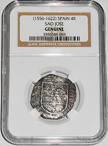 1600 MX Large Size silver SAO JOSE 4 REALES Shipwreck Coin,NGC Certified 3596588059.Circa.1600 Real Very Fine...