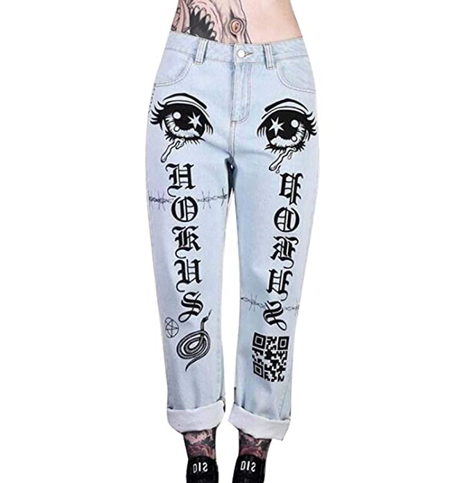 Huateng Estampado Punk para Mujer, Pantalones Vaqueros ...