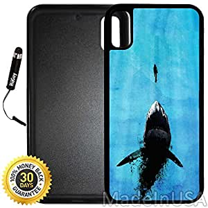 Custom iPhone X Case (Watch Out For Sharks) Edge-to-Edge Rubber Black Cover with Shock and Scratch Protection | Lightweight, Ultra-Slim | Includes Stylus Pen by INNOSUB