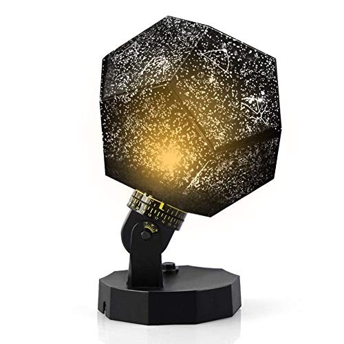 DIY Night Light Baby Star Projector,Constellation Lamp, 3 Color Universe Galaxy Rotating Relaxing Mood Light (Black)