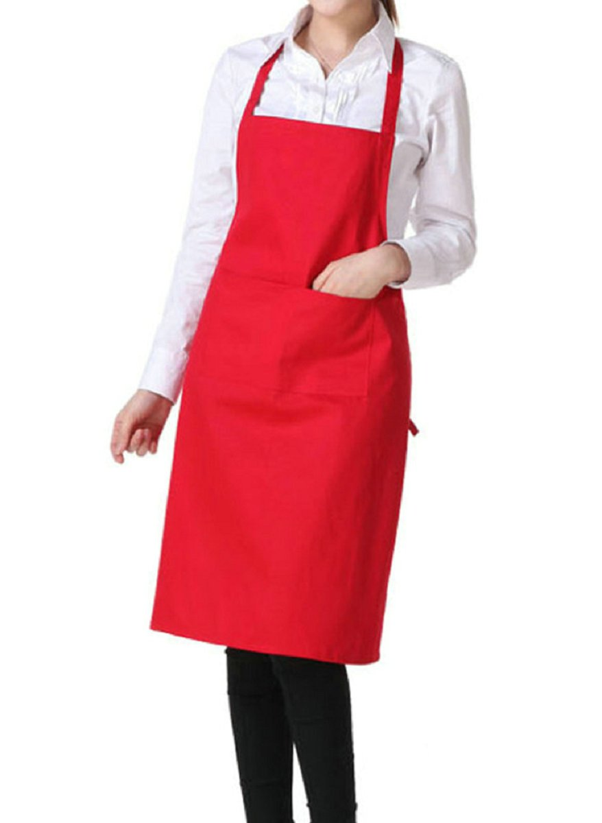 Monbedos Cooking Apron Unisex Adjustable Apron with 2 Pockets Solid Color Working Aprons for Home Kitchen,Restaurant,Coffee House size 72×58cm (Black)