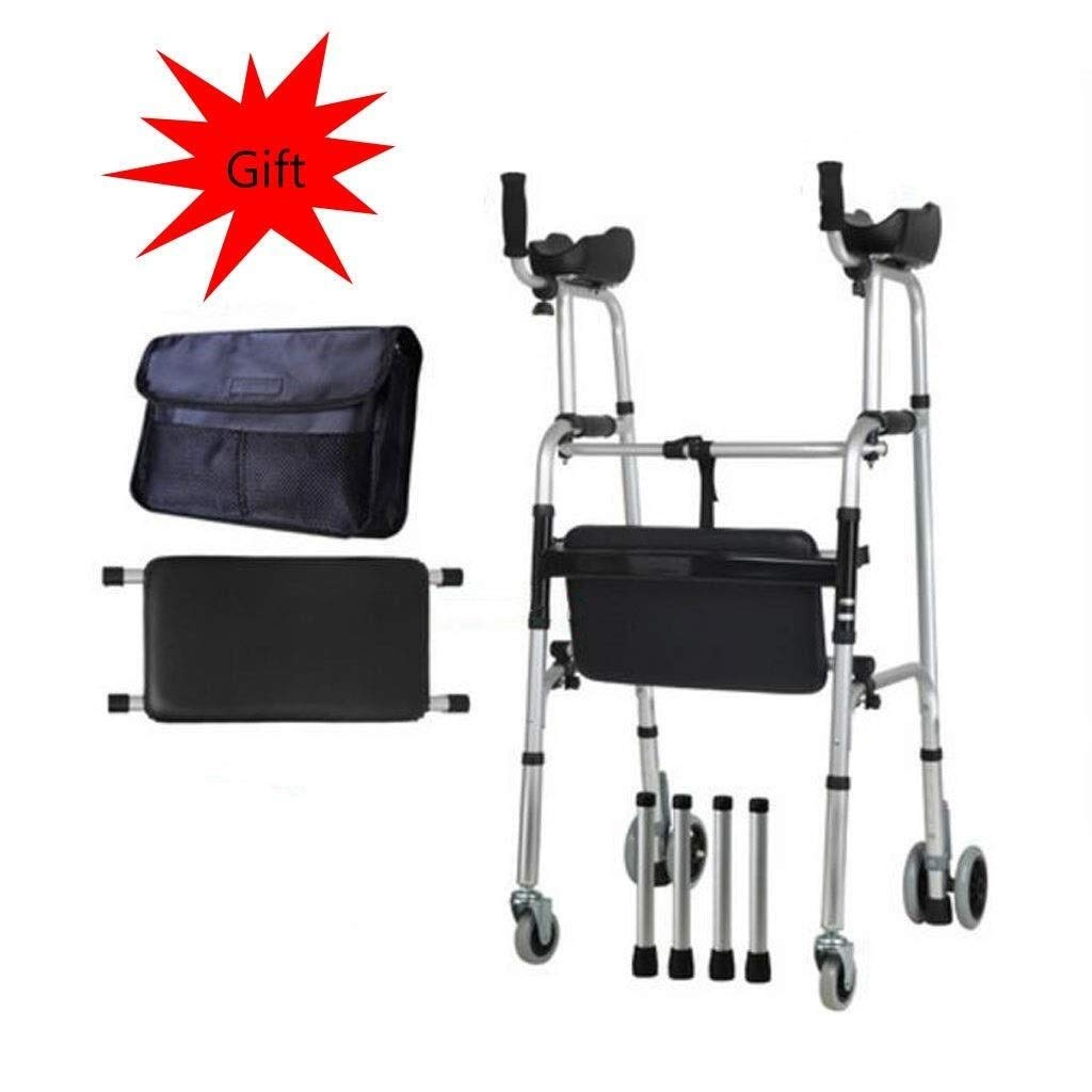 Folding Lightweight Aluminium Walking Frame with Wheels, Ergonomic Handle and Handbag Walking Mobility Aid Auxiliary Walking Safety Walker (Color : Deluxe Version)