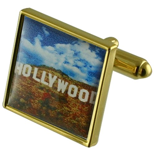 Select Gifts Celeb Hollywood Sign Gold-Tone Square Cufflinks with Engraved Personalised -