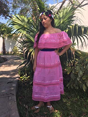 Vestido Campesino Mexicano Color Rosa Talla Universal Para