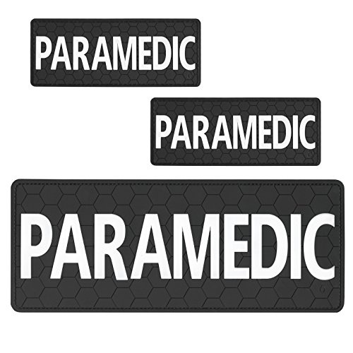 Set of 3 PVC Rubber Fastener Patches PARAMEDIC EMS EMT Plate Carrier Body Armor Medical