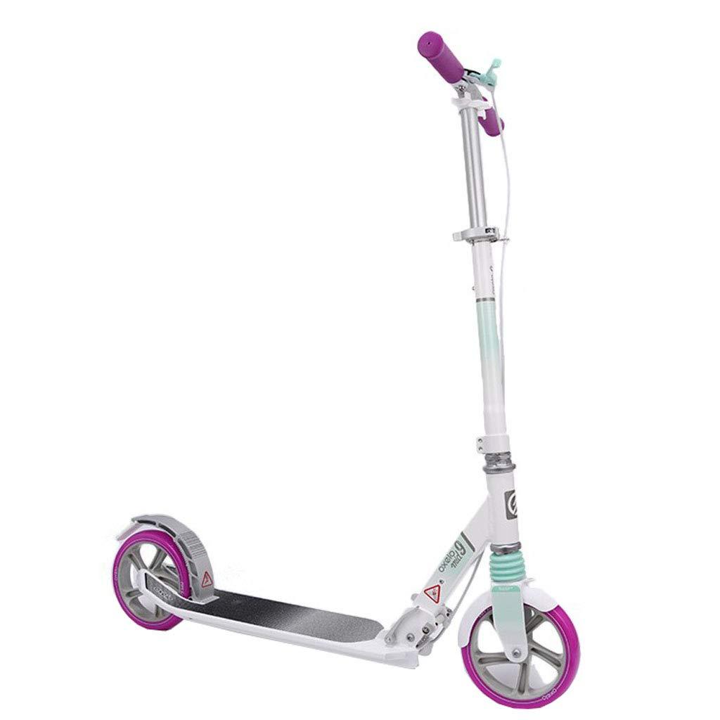 子供のための贅沢なスクーター/十代のポータブル、大きい車輪のスクーターの容易な折る蹴りのスクーター耐久の押しスクーターサポート220lbs大きい子供、男の子の女の子のために適した  白い