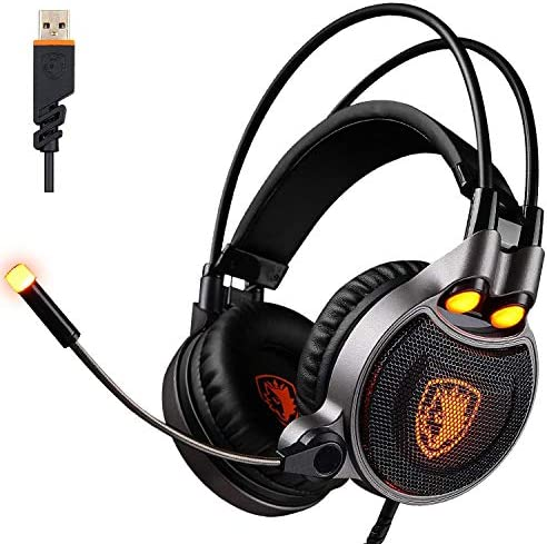 USB Gaming Headset for PC Laptop Mac, Surround Sound Stereo Wired Headphone with Microphone in-line Control Black Orange