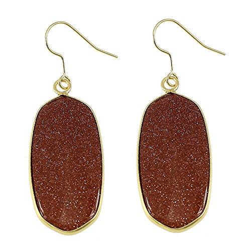 Vintage Fashion Earrings Natural Brown Goldstone Oval Dangling Fishhook Earrings 439163 65