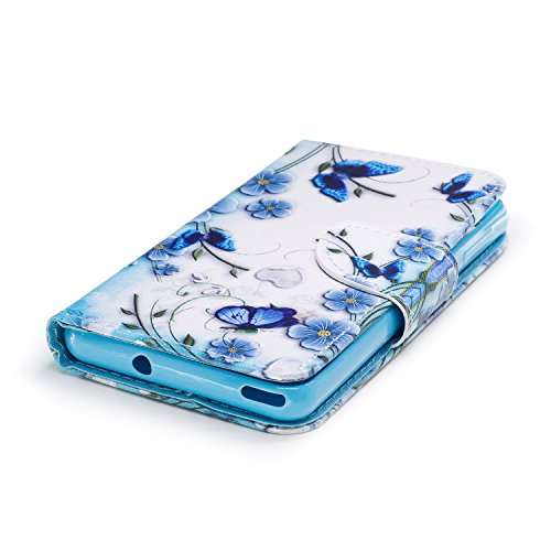 EUWLY Leather Wallet Case for Wiko Lenny 3 Max,Ultra Thin Colorful Butterfly Flower Tree Animal Embossed Pu Leather Case Cover with Hand Strap for Wiko Lenny 3 Max + 1 x Stylus Pen - Cat with Red Mout Butterfly