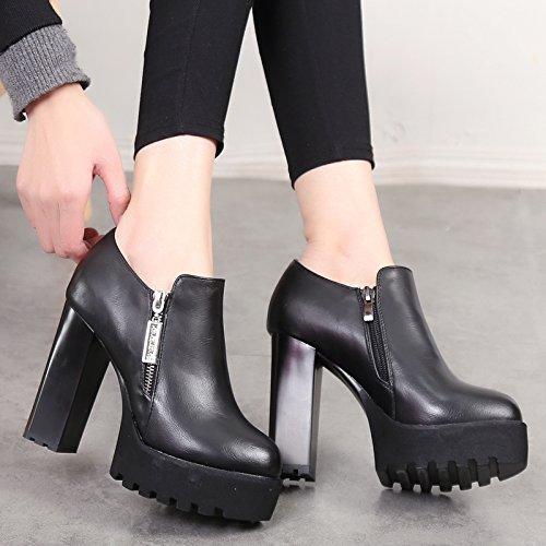 Otoño En Cabeza Solo Zapatos Tacon Cremallera Zapatos Tacon Plataforma Profunda Redonda HBDLH Impermeable Lateral La Hembra con Primavera Mujer Alto Aproximada Zapato de black Y De Boca 11Cm TqYxTwZRtB