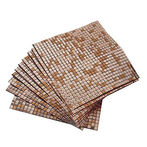 BalsaCircle 12x12-Inch Wide 10 pcs Rose Gold Backsplash Mirror Mosaic Tiles Wall Panels Party Kitchen DIY Bathroom Decorations -