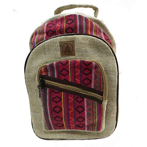 Natural Large Hemp Backpack Large, Red Blue