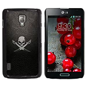 Hard Protector Case Cover Slim Back Shell for LG Optimus L7 II P710 / L7X P714 /Pirate Symbol Sign Skull Swords Ship Sail/ STRONG