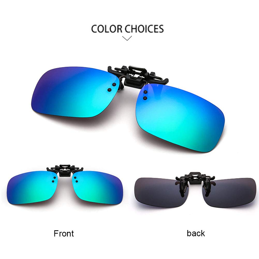 9c72edecdd Yiwa UV400 Polarized Sunglasses Clip-on Flip-up Sun Lenses Day Night Vision  Driving Sunglasses(Without Box) Blue and green Polarized light   Amazon.co.uk  ...