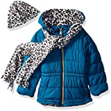 Pink Platinum Girls' Big Hooded Puffer with Accessory, Teal, 7/8