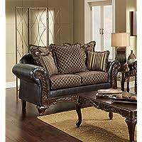 Chelsea Home Furniture Amelia Loveseat, Sienna Brown/Bi-Cast Brown