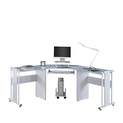 Esquina escritorio de ordenador PC en forma de L de cristal blanco ...