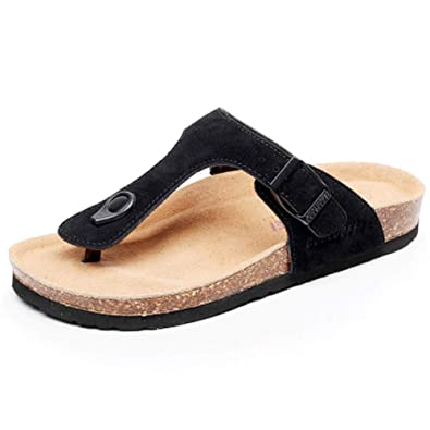 Asifn Women s Thong Cork Sandals Slide Slip On Flat Flip Flop Adjustable  Leather Buckle Strap Open 2f90fc0c97