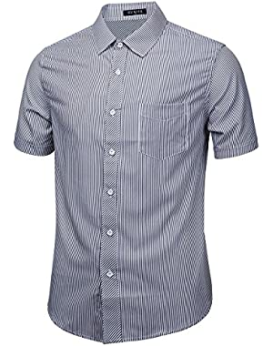 Men's Snap on Plaid Short Sleeve Casual Shirt