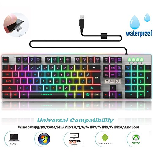 Backlit LED Wired Gaming Keyboard, Mechanical Feeling USB Keyboard with Backlight Rainbow RGB Multicolor Water-Resistant AdjustableIlluminated Computer Keyboard for PC Games Office (K2 Black)