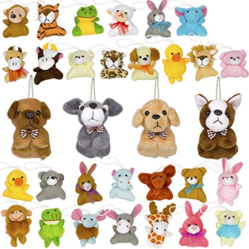 32 Pack Mini Plush Animal Toy Set, Cute Small Stuffed Zoo Animals Plush Keychains for Kids Themed Parties, Kindergarten Gift, Teacher Student Award, Party Favors, Goodie Bag Fillers