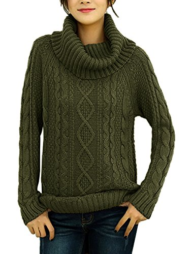 v28 Womens Korean Design Turtle Cowl Neck Ribbed Cable Knit Long Sweater Jumper