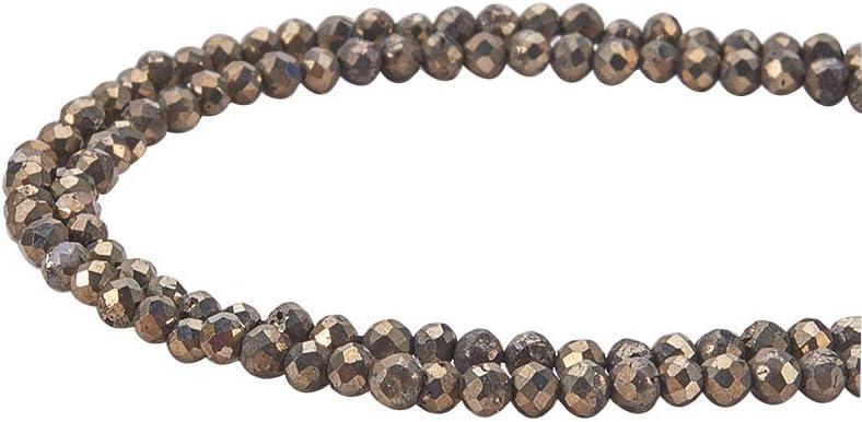 PandaHall Elite Cuentas de Piedras Preciosas, Perlas de Pirita Natural Collar de Piedra Preciosa, Facetas, Redondas, 2 mm, Agujero: 0.5 mm