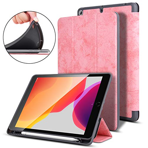 ROYBENS iPad 10.2 Case, 2019 New iPad 7th Generation Case with Pencil Holder, Magnetic Smart Trifold Stand Flip Case, PU Leather+ TPU Shockproof Protective Cover with Auto Sleep/Wake Feature, Pink