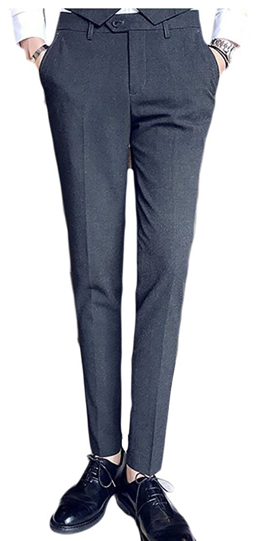 WSPLYSPJY Mens New Flat Front Suit Separate Solid Color Suit Pant