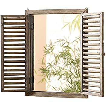 shuttered mirror with frame rustic mirror with wooden frame and shutter design product sku - Mirror Window Frame