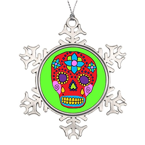 LittleTime Mexican Dia De Los Muertos Xmas Trees Decorated Cool Snowflake Ornaments by LittleTime
