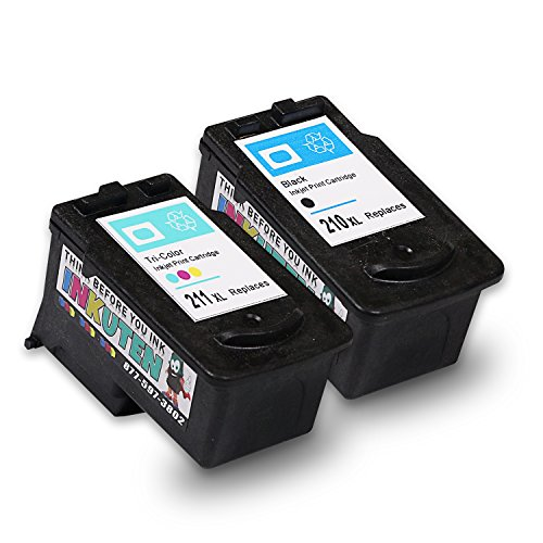 INKUTEN 2 Pack High Yield Ink Cartridge Remanufactured PG-210XL CL-211XL Black and Tri-color (1 Black, 1 Color) - with Ink Level Indicator - Canon Pixma Mx320 Colour
