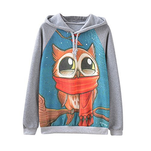 Arsenal Hooded Fleece - Kulywon Women Long Sleeve Loose Warm Owl Print Fleece Hoodies Blouses Sweatshirts Tops
