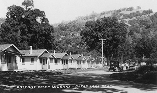 Lucerne, California - View of Cottage City by Clear Lake Beach (24x36 Giclee Gallery Print, Wall Decor Travel Poster) - Lucerne Small Wall